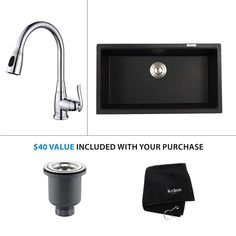 """View the Kraus KGU-413B-KPF-2230 Kitchen Combo - 30-1/2"""" Undermount Single Basin Granite Composite Kitchen Sink with Pullout Kitchen Faucet at FaucetDirect.com."""