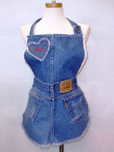 Repurposed Denim Jeans Apron for Mom Cursive Letters by fabriqueen, $20.00