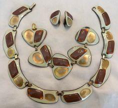 VINTAGE KAY DENNING MID-CENTURY MOD COPPER CREAM GOLDEN ENAMEL GLASS BRACELET NECKLACE EARRINGS!