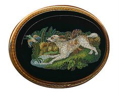 Brooch--Large Exquisite Mid-1800s Micromosaic Water Spaniel & Duck in Gold