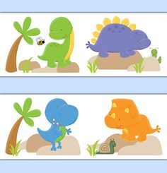 DINOSAUR ROOM DECOR Wallpaper Border Wall Decals por decampstudios