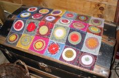 penny rug from felted thrift sweaters