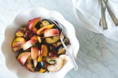 Stone Fruit Salad with Vanilla Honey Syrup. A sweet, seasonal salad that's filled with plums, nectarines and apricots.