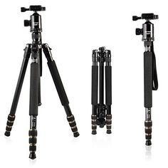 Mactrem Camera Tripod Alluminum Alloy Travel Tripod Portable Detachable Monopod645 inch360 Degree Ball Head14 Quick Release Plate with Carrying Tripod Bag For Canon Sony Nikon DSLR Cameras * See this great product.