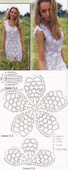 Роскошная подборка летних моделей крючком со схемами вязания 2 Crochet Skirt Pattern, Crochet Motif Patterns, Crochet Skirts, Form Crochet, Crochet Woman, Crochet Blouse, Crochet Chart, Crochet Designs, Crochet Clothes