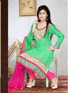 Adroitly Cotton Green & Pink Cotton #Salwar Kameez With Resham Work #churidarsuits #ethnicwear #womenapparel #womenfashion
