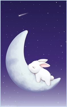Sleeping Bunny Ultra HD Desktop Background Wallpaper for : Tablet : Smartphone Bunny Art, Cute Bunny, Sweet Animal, Sleeping Bunny, My Sun And Stars, Rabbit Art, Rabbit Crafts, Moon Art, Cute Illustration