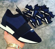Navy Balenciaga Runners Balenciaga Runners, Luxury Shoes, Streetwear, Branding Design, Swag, Menswear, Footwear, Mens Fashion, Navy