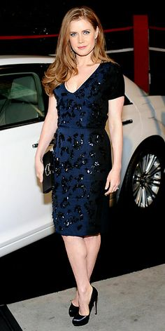 Amy Adams  WHAT SHE WORE  Adams attended an L.A. benefit in a plunging jewel-tone shift and black leather heels.