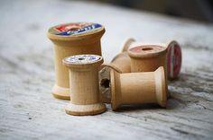 vintage wood thread spools