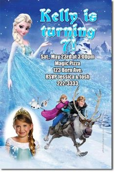 frozen birthday ideas | Frozen the Movie Birthday Party Invitations (Download JPG Immediately)