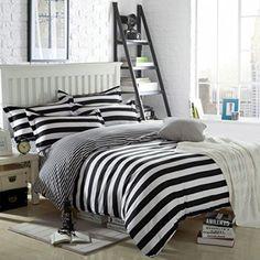 Ttmall Twin Full Queen Size Cotton 4-pieces Black White Striped Prints Duvet Cover Sets (Twin, 1flat Sheet+1duvet Cover+2pillowcases)