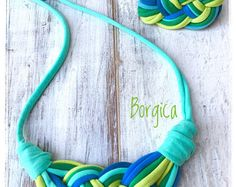 Turquise Lime Celtic Knot Bib Braided Necklace Bracelet Set - Design Statement Recycled Fabric Jewelry upcycled necklace Tshirt Yarn