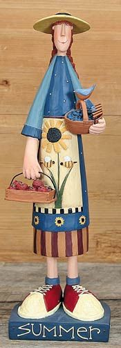 Summer Calendar Girl Figurine – Everyday Folk Art Figurines & Collectibles – Williraye Studio $20.00