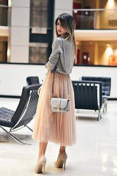 Here is Tulle Skirt Outfit Collection for you. Tulle Skirt Outfit how to wear Grey Sweater Outfit, Beige Outfit, Sweater Outfits, Fashion Mode, Look Fashion, Autumn Fashion, Fashion Outfits, Womens Fashion, Dressy Outfits