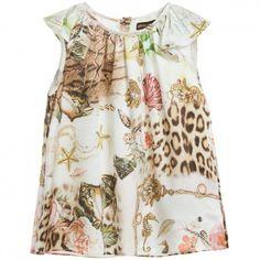 Girls 'Vintage Rose Leopard' Satin Top