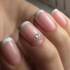 manicure of white color. Decorated with rhinestones. French manicure of white color. Decorated with rhinestones. French manicure of white color. Decorated with rhinestones. French Nails, Acrylic French Manicure, French Manicure Designs, Acrylic Nails, French Manicures, Bride Nails, Wedding Nails, Hair Wedding, Bridal Hair
