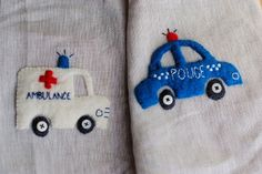 Police car and ambulance appliques for boys' quilt