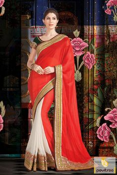 With its elegance, the red white and green chiffon georgette embroidered Saree is nice looking. Although resham, lace patti and embroidery adds glory.
