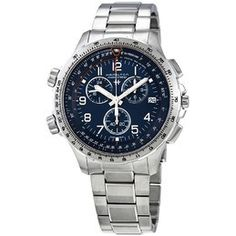 Hamilton Men's Khaki X Wind Automatic Chronograph Men's Watch H77616533 H77616533 - Watches, Hamilton - Jomashop Stainless Steel Bracelet, Stainless Steel Case, Sport Watches, Watches For Men, Zeppelin Watch, Down Band, 3 O Clock, Casual Watches, Blue Crystals
