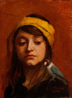 Girl with Lovebird by Louise C. Fenne