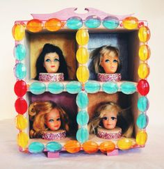 OOAK Groovy Retro Vintage Removable Barbie Heads Doll Art w/ Glitter Beads-Tiered Hardwood Shadow Box