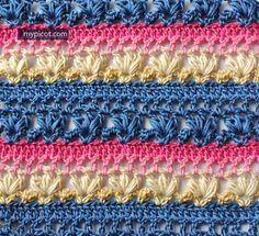 @ MyPicot -  Free crochet pattern  - openwork puff stitch   ༺✿Teresa Restegui http://www.pinterest.com/teretegui/✿༻
