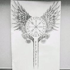 Tattoo design made for my cousin #tattoo #tatts #tatouage #design #viking #valkyries #celtic #raven #crow #wolf #runes #blacandgrey #odin #drawing #draw #dessin #tattooofday #tattoooftheday #tattooist #tattoed #tattooboy #tattoogirl