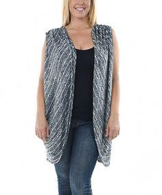 Loving this Black & White Marled Stripe Sleeveless Open Cardigan - Plus on #zulily! #zulilyfinds
