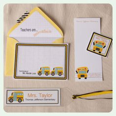 "It doesn't get more ""school"" than the classic yellow school bus :) Note cards, notepads, book plates and bookmarks from #Sugarsticks Parties"