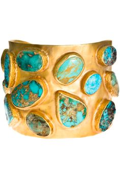 Turquoise & Gold Cuff | More bling here: http://mylusciouslife.com/photo-galleries/bling-fling/