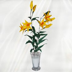 """Origami Lily Flower"" - 36 folded elements (origami flower & foliage) - Worldwide Delivery  - $39.99"