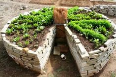Keyhole Raised Bed Garden with composter worm bed in center