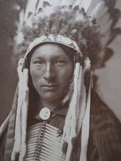 +~+~ Antique Photograph ~+~+ 1890's Photograph - Native American Indian Chief.