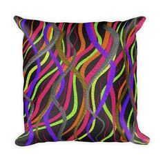 Funky Electric Squiggles Pillow with Insert Bright Colored