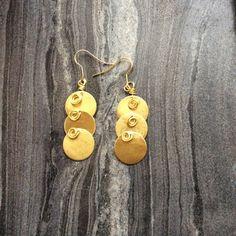 Bronze geometric earrings ancient greek earrings by SamsabyElena