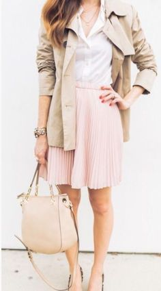 Pink pleated mini with trench and white