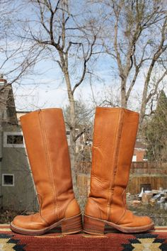 vtg 1970s tall leather CAMPUS BOOTS bort carleton womens by Taite, $65.00