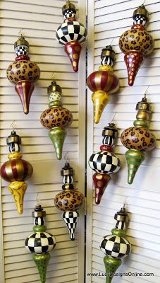 Lucy Designs: Hand Painted 'MacKenzie Childs Style' Christmas Ornaments