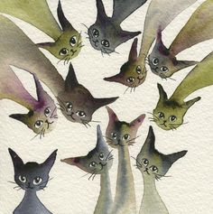 Kessell Stray Cats   Lori Alexander   http://www.straycatartbylorialexander.com/whimsical-cats
