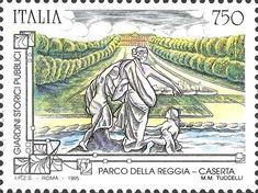 """1995 - """"I giardini storici pubblici"""" (Patrimonio artistico e culturale italiano) - Parco della Reggia a Caserta (Campania)"""