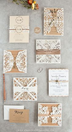 Try these white laser cut wedding invitations with twine for rustic country weddings in spring or fall, custom wedding invitations, cheap wedding invitations, cut wedding invites Cheap Rustic Ivory Laser Cut Gold Glittery Wedding Invitation Spring Fall Country Wedding Invitations, Laser Cut Wedding Invitations, Rustic Invitations, Wedding Invitation Wording, Wedding Stationary, Rustic Wedding Stationery, Cheap Invitations, Invitations Online, Invitation Paper