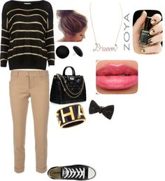 """black and gold outfit"" by regaemomma ❤ liked on Polyvore"