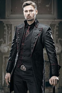 This is obviously very dramatic, but the leather plus the half and half thing on the waistcoat could be good for Nax