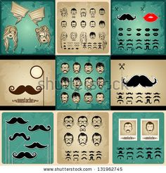 set vintage cards girls and mans faces. girls faces with hair, sunglasses and shape of the lips.mans Faces with Mustaches, sunglasses,eyegla...