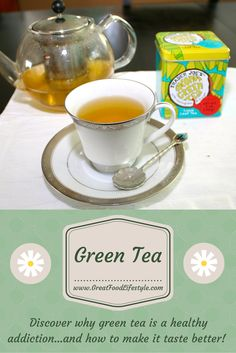 Green tea makes for a great comfort food!  This post explains some of its health benefits and how to make it taste better.  For more healthy ideas follow me on Pinterest and subscribe to my blog at this link! #greentea