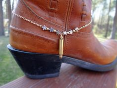 Cowboy boot bracelet with bullet casing by BulletsBeadsBaubles