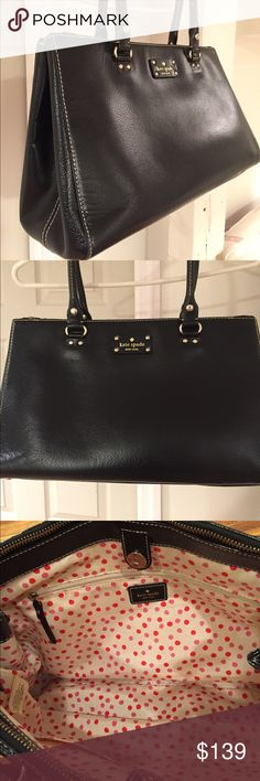 """Lovely kate spade bag. ♠️ Black leather bag with 3 large compartments, two of which zip.  Inner zip pocket, snap close.  A small scratch in back, as shown. Bottom is in good condition, the overall condition is very good!  Measures16"""" x 10"""". Can be used as a briefcase. kate spade Bags"""