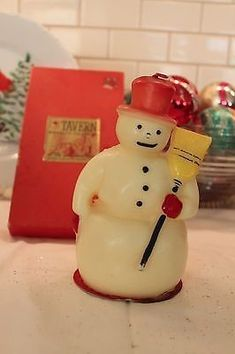Vintage Authentic Tavern Tall candle Snowman 8 inches tall New in box and un lit. Box has some wear Check out my other items up for bid We combine shipping! Christmas Candles, Christmas Snowman, Diy Christmas Gifts, Christmas Tree Ornaments, Merry Christmas, Snowman Decorations, Vintage Decorations, Christmas Decorations, Victorian Christmas
