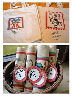 Dr. Seuss homemade prizes; bags with ironed on designs